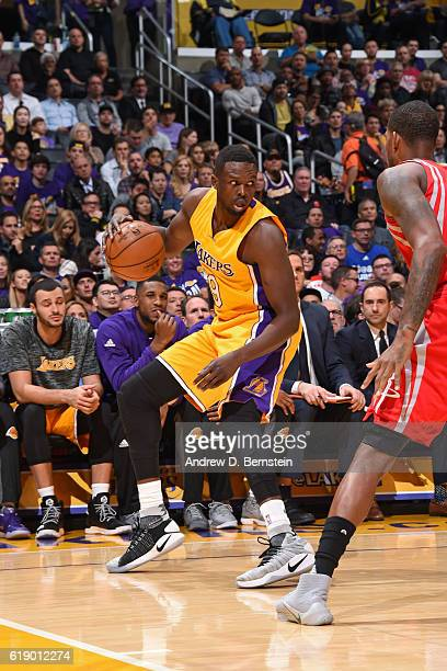 Luol Deng of the Los Angeles Lakers dribbles the ball against the Houston Rockets on October 26 2016 at STAPLES Center in Los Angeles California NOTE...