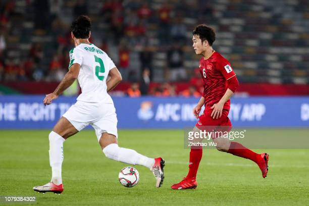 Luong Xuan Truong of Vietnam controls the ball during the AFC Asian Cup Group D match between Iraq and Vietnam at Zayed Sports City Stadium on...