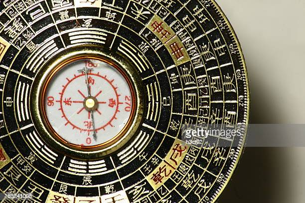 luopan compass - detail - feng shui stock photos and pictures