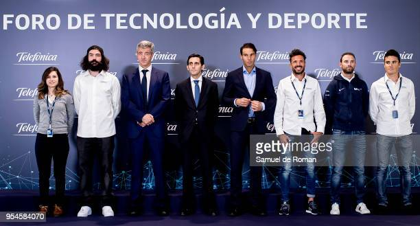 Luordes Oyarbide Regino Hernandez Rafa Nadal Alejandro Valverde Chema Martinez Javier Gomez Noya and Jose Maria Alvarez Pallete during the...