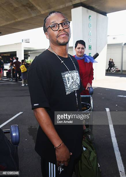 Lupe Fiasco arrives for his Australian Tour at Kingsford Smith Airport on January 7 2015 in Sydney Australia
