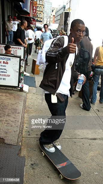 Lupe Fiasco during Lupe Fiasco and Jill Scott on the Set of Lupe Video Shoot Day Dreaming July 26 2006 in New York City New York United States