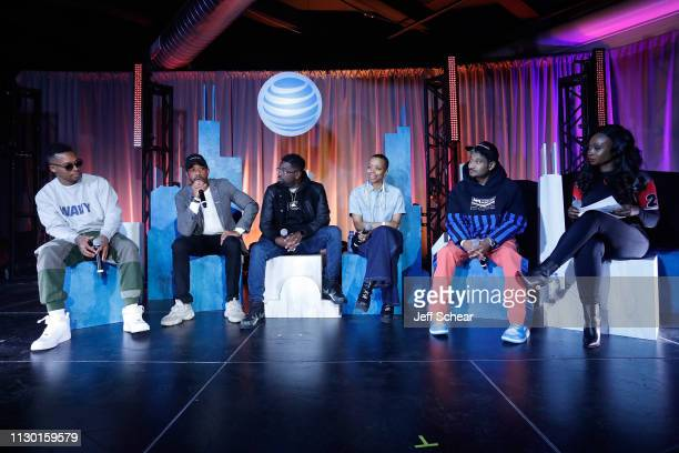 Lupe Fiasco Justin Cunningham Lil Rel Jamila Woods and Don C on cultural conversation panel at ATT's Day at Revel Fulton Market in Chicago IL on...