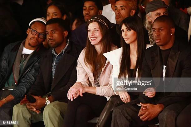 Lupe Fiasco, Kanye West, Milla Jovovich, Kim Kardashian and Reggie Bush attend Y-3 Fall 2009 during Mercedes-Benz Fashion Week at Pier 40 - West...