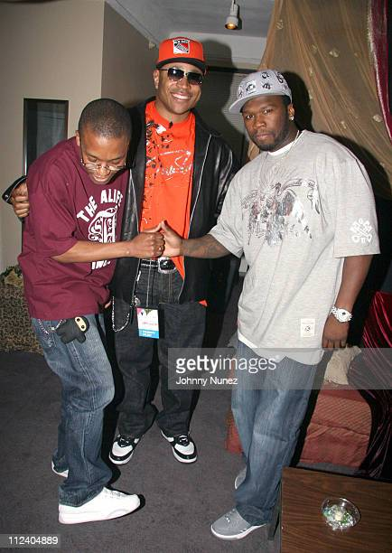 Lupe Fiasco LL Cool J and 50 Cent during BET UpFront 2006 at Manhattan Center Studios in New York New York United States