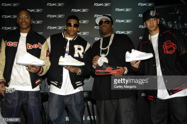 Lupe Fiasco Nelly Mike Jones and Daddy Yankee during 'Reebok Now Playing' Featuring Nelly Daddy Yankee Mike Jones and Lupe Fiasco Press Conference at...