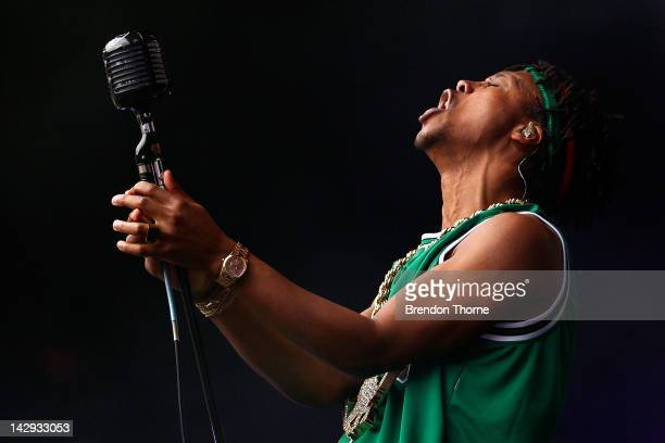 SYDNEY AUSTRALIA APRIL Lupe Fiasco performs live on stage during Supafest 2012 at ANZ Stadium on April 15 2012 in Sydney Australia