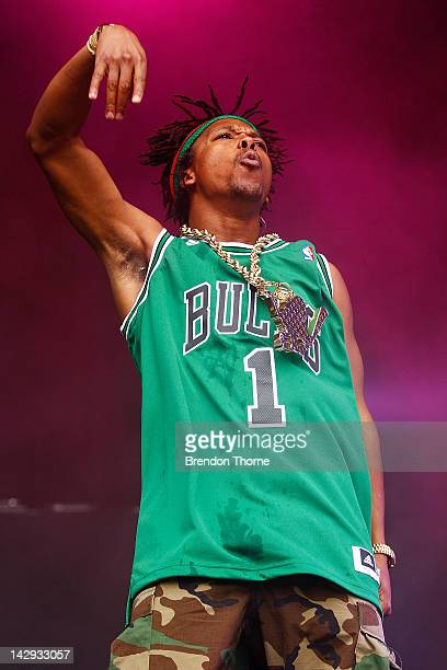 Lupe Fiasco performs live on stage during Supafest 2012 at ANZ Stadium on April 15 2012 in Sydney Australia