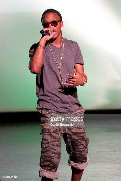Lupe Fiasco performs on stage during Dwyane Wade's Chicago Has Talent Showcase at Merle Reskin Theatre on August 21 2010 in Chicago Illinois