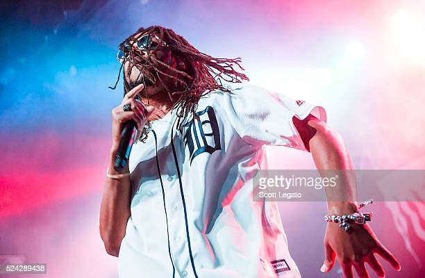 Lupe Fiasco performs while wearing a Detroit Tigers Baseball jersey at St Andrews Hall on April 25 2016 in Detroit Michigan