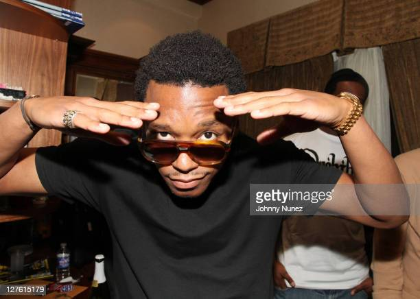 Lupe Fiasco poses for a picture backstage at Blue Note Jazz Club on February 26 2011 in New York City