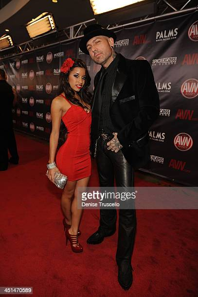 Lupe Fuentes and Evan Seinfeld arrives at the 2010 AVN Awards at the Pearl at The Palms Casino Resort on January 9 2010 in Las Vegas Nevada