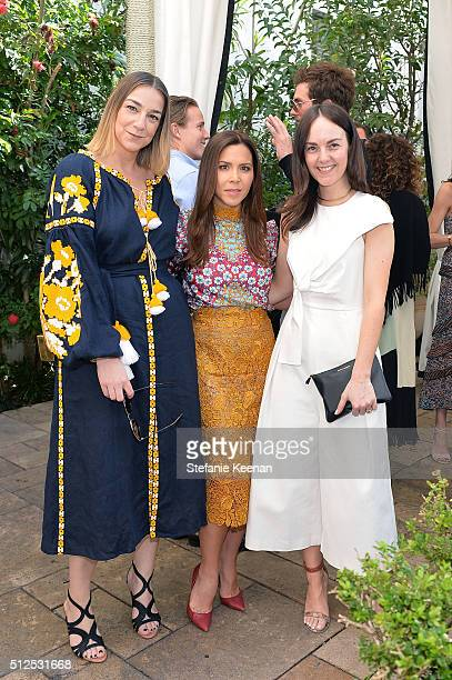 Lupe Puerta Monique Lhuillier and Lauren Elrick attend NETAPORTER Celebrates Women Behind The Lens at Chateau Marmont on February 26 2016 in Los...