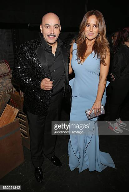 Lupillo Rivera and Jackie Guerrido pose backstage at Premios Univision Deportes 2016 on December 18 2016 in Miami Florida