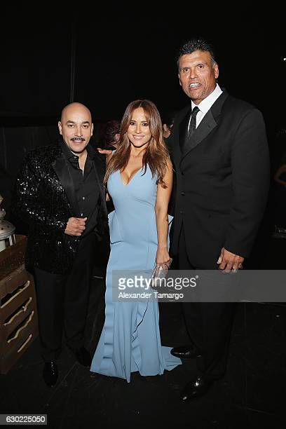 Lupillo Rivera Jackie Guerrido and Anthony Munoz backstage at Premios Univision Deportes 2016 on December 18 2016 in Miami Florida
