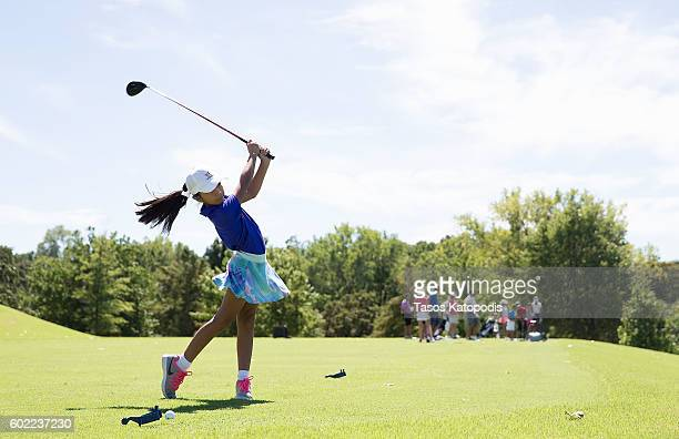 Lupita Barbosa drives in the girls 79 at the Drive Chip and Putt Regional Qualifier at Southern Hills Country Club on September 10 2016 in Tulsa...
