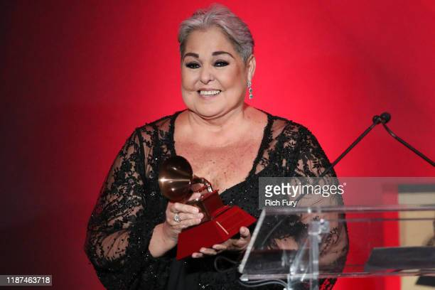 Lupita D'alessio accepts a Lifetime Achievement Award during the 2019 Latin Grammy Special Merit Awards on November 13 2019 in Las Vegas Nevada