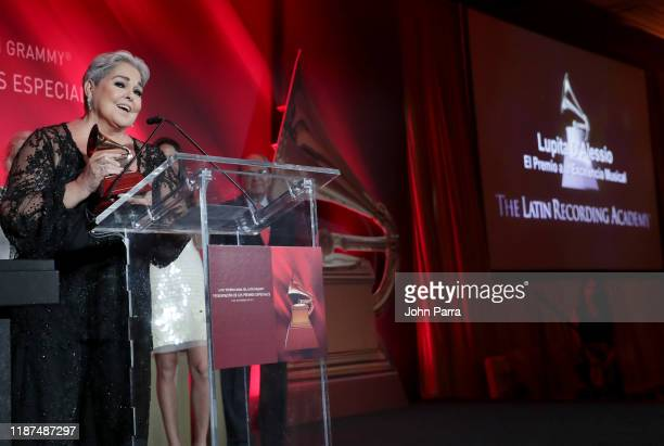 Lupita D'alessio accepts the Lifetime Achievement Award onstage at the Special Awards Presentation during the 20th annual Latin GRAMMY Awards at the...