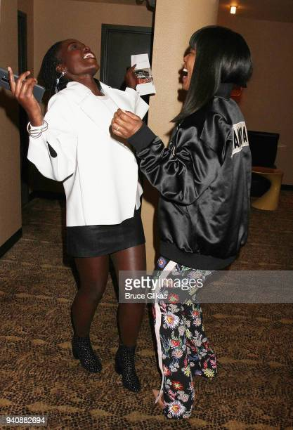 Lupita Nyong'o and Angela Bassett chat backstage at the new revival of the play 'Children of a Lesser God' on Broadway at Studio 54 Theatre on April...