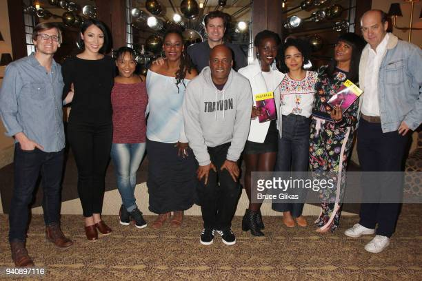 Lupita Nyong'o and Angela Bassett pose with Director Kenny Leon and the cast backstage at the new revival of the play 'Children of a Lesser God' on...