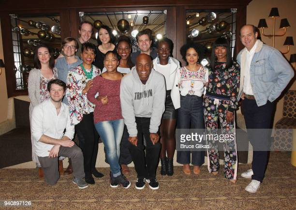 Lupita Nyong'o and Angela Bassett pose with Director Kenny Leon and the cast and crew backstage at the new revival of the play 'Children of a Lesser...