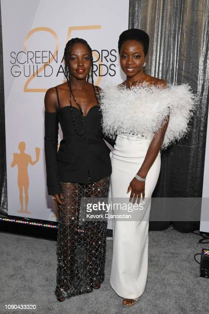 Lupita Nyong'o and Danai Gurira attend the 25th Annual Screen Actors Guild Awards at The Shrine Auditorium on January 27, 2019 in Los Angeles,...