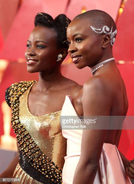 Lupita Nyong'o and Danai Gurira attend the 90th Annual Academy Awards at Hollywood Highland Center on March 4 2018 in Hollywood California
