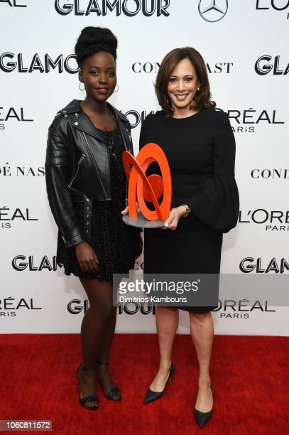 Lupita Nyong'o and Kamala Harris pose backstage at the 2018 Glamour Women Of The Year Awards Women Rise on November 12 2018 in New York City
