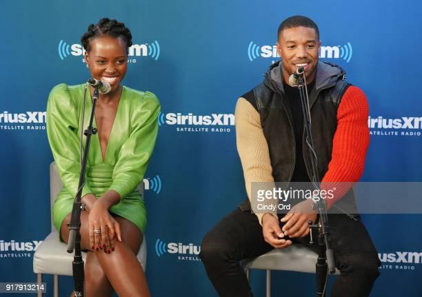 Lupita Nyong'o and Michael B Jordan take part in SiriusXM's Town Hall with the cast of Black Panther hosted by SiriusXM's Sway Calloway on February...