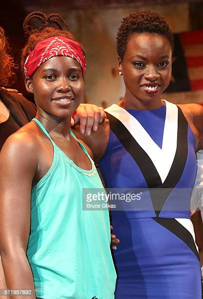 """Lupita Nyong'o and Playwright Danai Gurira pose backstage after the first preview of """"Eclipsed"""" on Broadway at The Golden Theatre on February 23,..."""