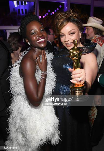 Lupita Nyong'o and Ruth E Carter winner of Best Costume Design for 'Black Panther' attend the 2019 Vanity Fair Oscar Party hosted by Radhika Jones at...