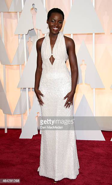 Lupita Nyong'o arrives at the 87th Annual Academy Awards at Hollywood & Highland Center on February 22, 2015 in Los Angeles, California.