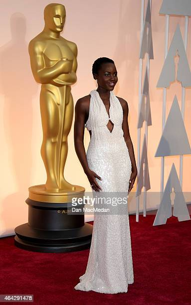 Lupita Nyong'o arrives at the 87th Annual Academy Awards at Hollywood Highland Center on February 22 2015 in Los Angeles California