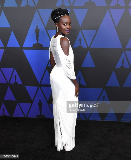 Lupita Nyong'o arrives at the Academy Of Motion Picture Arts And Sciences' 10th Annual Governors Awards at The Ray Dolby Ballroom at Hollywood...