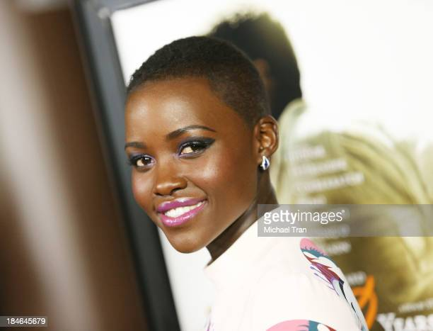 Lupita Nyong'o arrives at the special Los Angeles screening of '12 Years A Slave' held at Directors Guild of America on October 14 2013 in Los...
