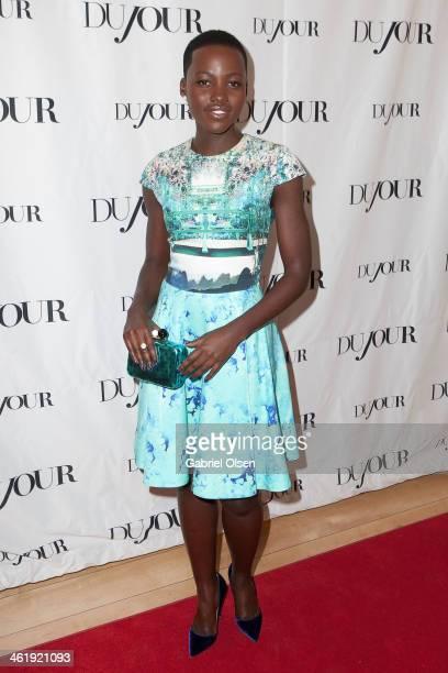 Lupita Nyong'o arrives for DuJour Magazine's Jason Binn with editors Nicole Vecchiarelli Keith Pollock as they celebrate The Great Performances issue...