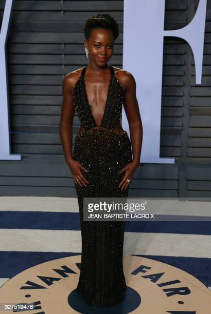 Lupita Nyong'o attends the 2018 Vanity Fair Oscar Party following the 90th Academy Awards at The Wallis Annenberg Center for the Performing Arts in...