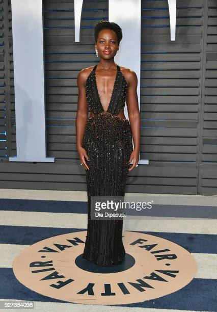 Lupita Nyong'o attends the 2018 Vanity Fair Oscar Party hosted by Radhika Jones at Wallis Annenberg Center for the Performing Arts on March 4, 2018...