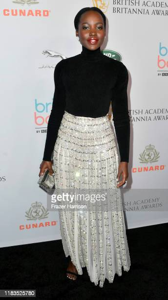 Lupita Nyong'o attends the 2019 British Academy Britannia Awards presented by American Airlines and Jaguar Land Rover at The Beverly Hilton Hotel on...
