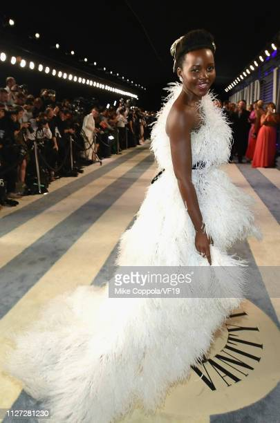 Lupita Nyong'o attends the 2019 Vanity Fair Oscar Party hosted by Radhika Jones at Wallis Annenberg Center for the Performing Arts on February 24...