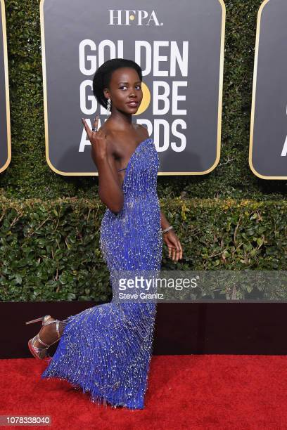 Lupita Nyong'o attends the 76th Annual Golden Globe Awards at The Beverly Hilton Hotel on January 6 2019 in Beverly Hills California
