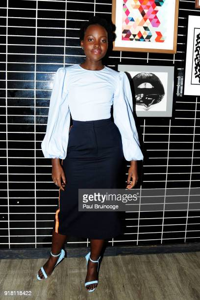 Lupita Nyong'o attends The Cinema Society with Ravage Wines Synchrony host the after party for Marvel Studios' 'Black Panther' at The Skylark on...