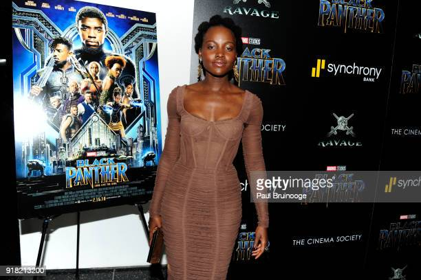 Lupita Nyong'o attends The Cinema Society with Ravage Wines Synchrony host a screening of Marvel Studios' 'Black Panther' at The Museum of Modern Art...