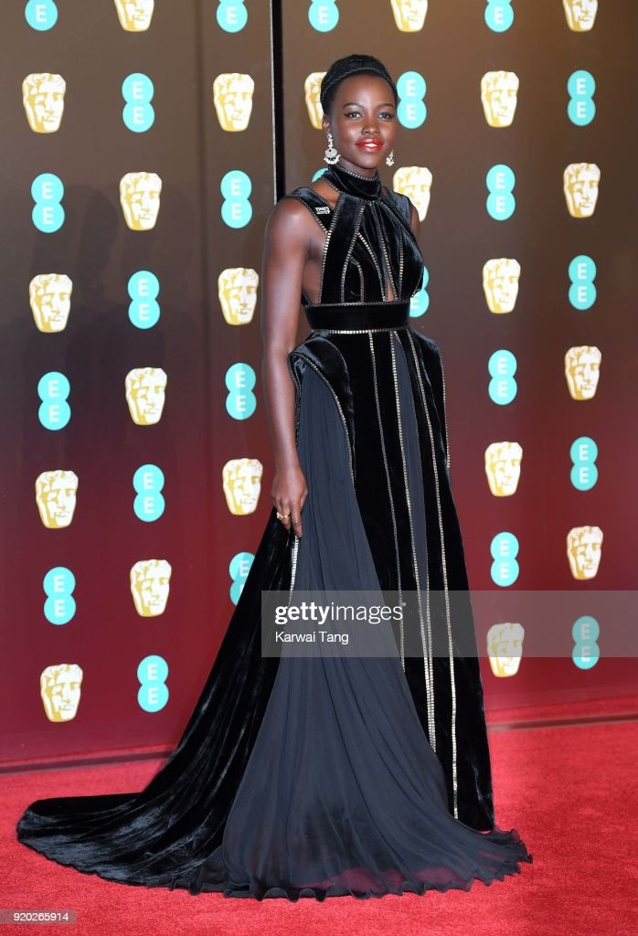 Lupita Nyong'o attends the EE British Academy Film Awards (BAFTAs) held at the Royal Albert Hall on February 18, 2018 in London, England.