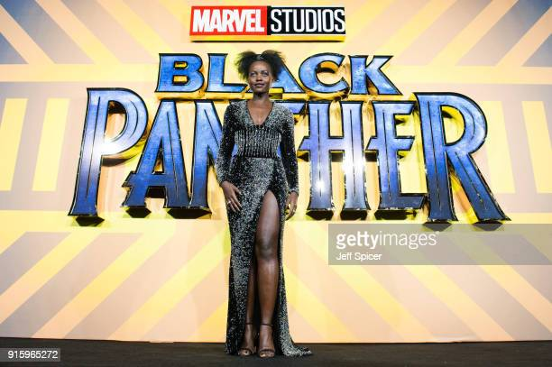 Lupita Nyong'o attends the European Premiere of 'Black Panther' at Eventim Apollo on February 8 2018 in London England