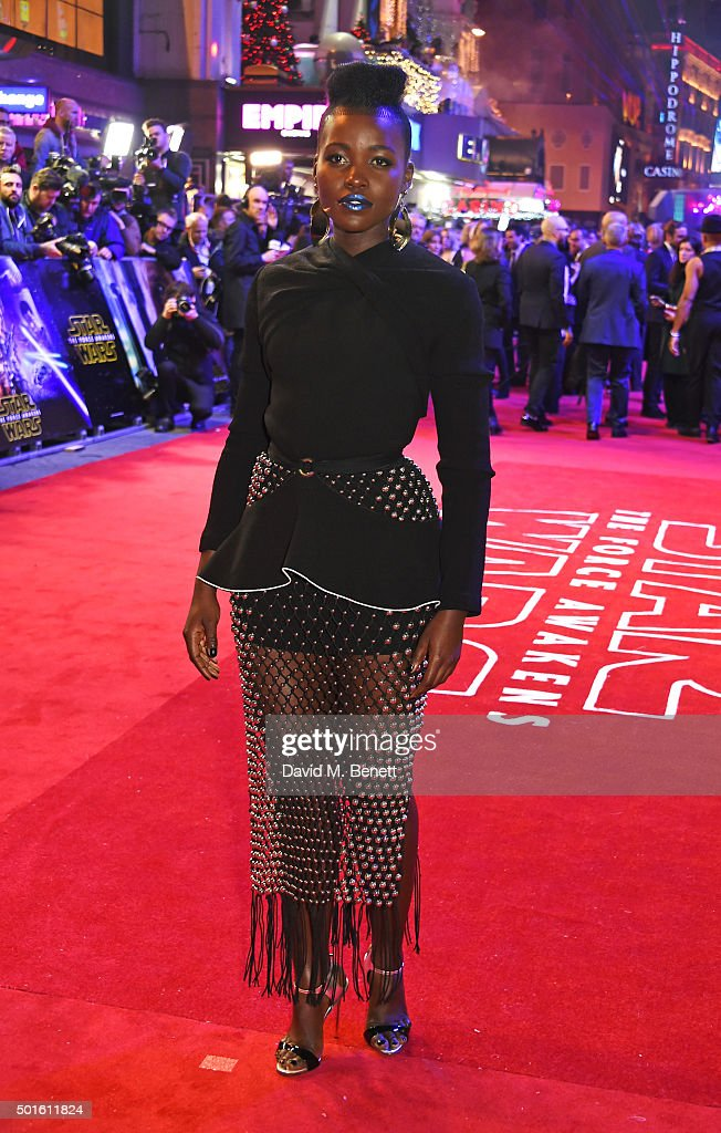 Lupita Nyong'o attends the European Premiere of 'Star Wars: The Force Awakens' in Leicester Square on December 16, 2015 in London, England.