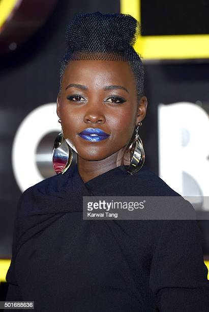 Lupita Nyong'o attends the European Premiere of Star Wars The Force Awakens at Leicester Square on December 16 2015 in London England