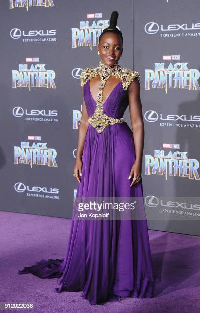 Lupita Nyong'o attends the Los Angeles Premiere 'Black Panther' at Dolby Theatre on January 29 2018 in Hollywood California