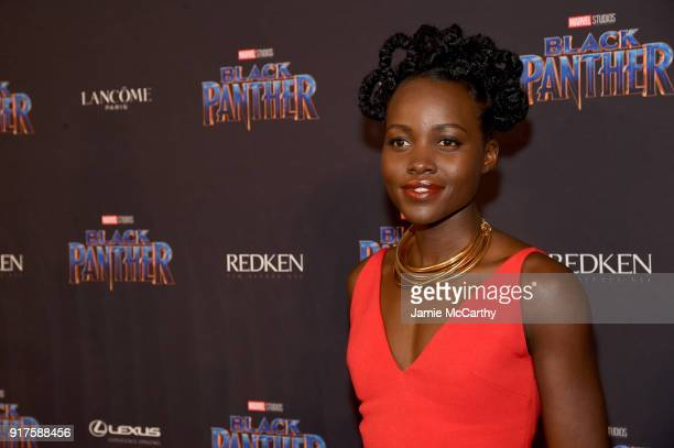 Lupita Nyong'o attends the Marvel Studios Black Panther Welcome to Wakanda New York Fashion Week Showcase at Industria Studios on February 12 2018 in...