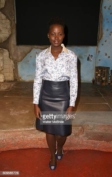 Lupita Nyong'o attends the meet and greet the allfemale cast and creative team and launch of the 10000 girls initiative of Broadway's 'Eclipsed' at...